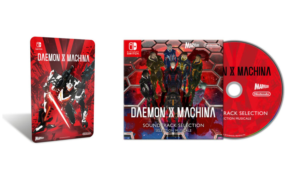 Daemon X Machina metalowa płytka i płyta CD z muzyką.