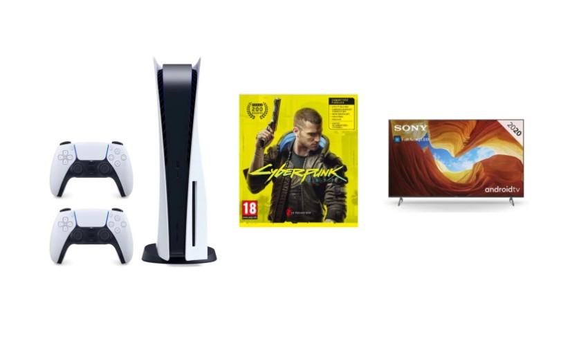 Playstation 5, dodatkowego kontrolera, gry Cyberpunk 2077 oraz TV Sony XH9005