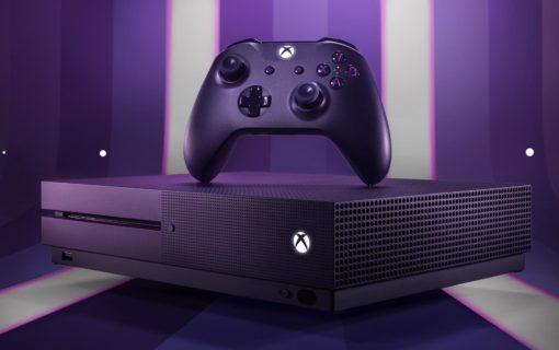 Fioletowa konsola Xbox One S w specjalnej edycji Fortnite Battle Royale